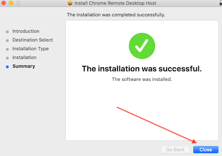 Chrome Remote Desktop Installer Finish